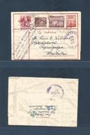 DUTCH INDIES. 1957 Bagansiapiapi - Honduras, Tegucigalpa (23 May) 20 Sen Red Stationary Air Letter Sheet + 3 Adtls. Very - Nederlands-Indië