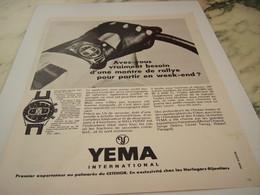 ANCIENNE PUBLICITE MONTRE DE RALLYE LA RALLYGRAF  YEMA 1968 - Altri
