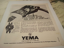 ANCIENNE PUBLICITE MONTRE DE RALLYE LA RALLYGRAF  YEMA 1968 - Jewels & Clocks