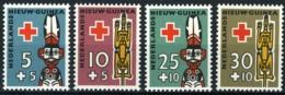 Nederlands Nieuw Guinea 1958, Rode Kruis, Red Cross NVPH 49-52 Hinged/ongestempeld - Nuova Guinea Olandese