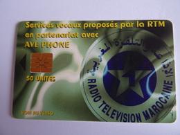 Télécarte MAROC A296 Services Vocaux Proposés Par La RTM Avec AVE Phone 50 Unités, Used Très Bon état,  Voir Scan - Maroc