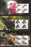 AUSTRALIA, 2019, MNH, SINGPEX EXHIBITION, FAUNA, BIRDS,  PARROTS, REPTILES, LIZARDS, KANGAROOS, TASMANIAN DEVIL, 5 SLTS - Parrots