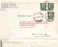 LETTERA TRE PORTI ATTILIO VILLA GEOMETRA LECCO RETRO ANNULLO LAORCA - 1900-44 Vittorio Emanuele III