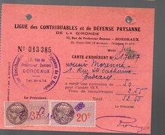 Bordeaux ( 33 Gironde) Reçu LIGUE DES CONTRIBUABLES ET DE DEFENSE PAYSANNE 1938 Avec Timbres Fiscaux (PPP19884) - Documentos Antiguos