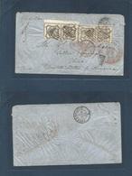 ITALY Papal States. 1859 (29 Jan) Roma - USA, Ohio, Yellow Springs Via Paris (2 Febr) And New York (22 Febr) Fkd Env 8 B - Italy