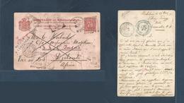 DUTCH INDIES. 1898 (19 Nov) Bahilang, Tebing Tinggi - AFRICA DJIBOUTI (20 Jan - 22 March 1899) 7 1/2 Red Stat Card + Out - Nederlands-Indië