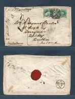 """ARGENTINA. 1870 (Sept 1) Buenos Aires - Dublin, Ireland (2 Oct) """"Per Montego"""" Fkd Env 10c (+2) Pair Via Maritima + 3sh. - Argentine"""