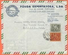 PORTOGALLO - PORTUGAL - 1966 - 2 + 1,50 - Airmail - Póvoa Exportadora L.da - Viaggiata Da Póvoa De Varzim Per Zurich, Su - Cartas