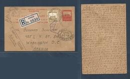PALESTINE. 1940 (20 May) Karkur - USA, Washington DC (28 June) Registered 8p Red Stationary Card + BP Adtl + Censored + - Palästina