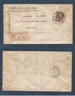 China - XX. 1942 (7 Feb) Tientsin (Japanese Occup) - Switzerland, Geneve (28 Apr) Registered Single 1 $ Fkd Env. Via Tur - Ohne Zuordnung