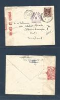 BURMA. 1939 (8 Nov) Maymyo - UK, Hunts. Single Fkd Env + Taxed + Doble Censor + Special Due Cachet. Very Scarce. - Burma (...-1947)