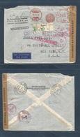 DUTCH INDIES. 1941 (9 Oct) Batavia - USA, NYC (8 Nov) Registered Air Mail Censor Machine Fkd Air Aux Cachet Via Singapor - Nederlands-Indië