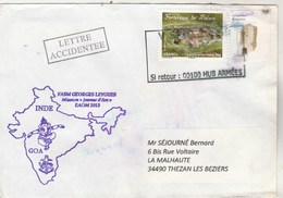 Mission JEANNE D'ARC EAOM 2013  Frégate GEORGES LEYGUES Goa Inde LETTRE ACCIDENTEE Cachet V SPID 10369 - Marcofilia (sobres)