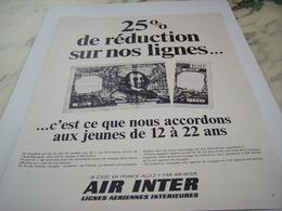 ANCIENNE PUBLICITE LIGNE AERIENNE AIR INTER 1968 - Advertisements