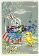 Joyeuses Pâques. Madame Lapin, Oeuf, Poussin - Pâques