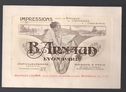 Lyon-Villeurbanne (69 Rhône) Belle Carte GRAVEE  : B ARNAUD Imprimeur  (PPP19889) - Publicités