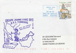 Groupe JEANNE D'ARC 2013 BPC TONNERRE Port Kelang Mer De Chine Méridionale Cachet Roissy 29/10/2013 - Marcophilie (Lettres)
