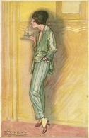 Ragazza Che Si Accende La Sigaretta, Riproduzione Da Orig., Reproduction, Illustrazione, Mauzan Illustratore (F23) - Donne