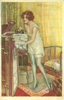Ragazza Che Ripone I Panni, Riproduzione Da Orig., Reproduction, Illustrazione, Mauzan Illustratore (F24) - Donne