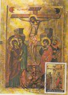 RELIGIOUS PAINTINGS, JESUS' CRUCIFIXION ICON, EASTER, CM, MAXICARD, CARTES MAXIMUM, 1991, ROMANIA - Paintings