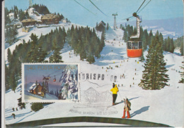 TOURISM, POIANA BRASOV SKI RESORT, CABLE CAR, CHALET, CM, MAXICARD, CARTES MAXIMUM, 1980, ROMANIA - Ferien & Tourismus