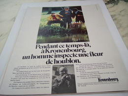 ANCIENNE  PUBLICITE FLEUR DE HOUBLON  KRONENBOURG 1968 - Alcools