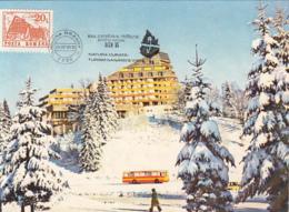 TOURISM, POIANA BRASOV ALPINE HOTEL, BUSS, CAR, CM, MAXICARD, CARTES MAXIMUM, 1995, ROMANIA - Hotel- & Gaststättengewerbe