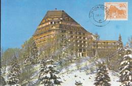 TOURISM, POIANA BRASOV ALPINE HOTEL, BUSS, CAR, CM, MAXICARD, CARTES MAXIMUM, 1992, ROMANIA - Hotel- & Gaststättengewerbe