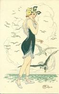 Ragazza In Spiaggia E Gabbiani, Riproduzione Da Orig., Reproduction, Illustrazione, E. Bottaro Illustratore (F27) - Donne