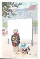 Cpa Signée Bert , Enfant & Fleurs, Chien Bouledogue Français  ( ILL ) - Altre Illustrazioni