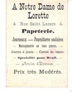 """Carte De Visite  """"A Notre Dame De Lorette"""". 4, Rue Saint-Lazare Paris  Papeterie, Journaux, Fournitures Scolaires ... - Visitenkarten"""