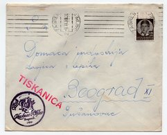 1939 YUGOSLAVIA, CROATIA, ZAGREB TO BELGRADE, PRINTED MATTER - 1931-1941 Kingdom Of Yugoslavia