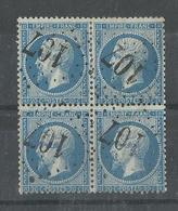 France N° 22 Bloc De 4 Oblitéré GC 107 Aniche 57 Cote YT 100€, Signé Calvès - 1862 Napoléon III.