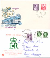 2 FDC   Königin Elisabeth - Ersttagsbelege (FDC)