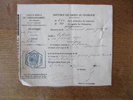 QUITTANCE DES DROITS DE SUCCESSION DU 17 JUIN 1871 EMISSION DE LILLE TYPE JUSTICE LEGENDE TIMBRE IMPERIAL 20c BLEU HEXAG - Fiscaux