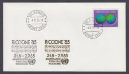 UNO Genf-UN Geneva - Beleg 1985 - MiNr. 80 - Gold-Sonderstempel - Riccione 85 - UNO