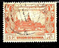 BIRMANIE 60° 25p Rouge Palais Royal (10% De La Cote + 0,26) - Myanmar (Burma 1948-...)