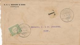 Curacao - 1928 - 15 Cent Port P25, Enkelfrankering Op Taxed Businesscover Lokaal Curacao - Curaçao, Antilles Neérlandaises, Aruba