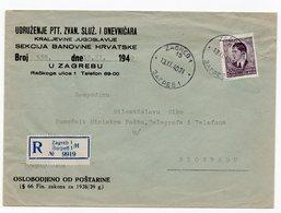1940 YUGOSLAVIA, CROATIA, ZAGREB TO BELGRADE PTT MINISTRY, REGISTERED LETTER, FREED OF POSTAGE, - 1931-1941 Kingdom Of Yugoslavia