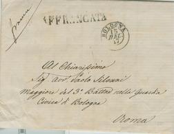 STATO PONTIFICIO - PREFILATELICA CON TESTO,BOLOGNA - ROMA -15 DICEMBRE 1847,AFFRANCATA 6 BAJ,X AVV.PAOLO SILVANI- NOTA - Italia