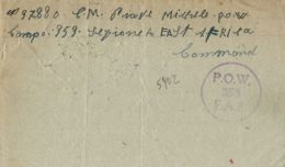 BIGLIETTO CAMPO PRIGIONIERI POW CAMP 353 GIL GIL KENYA 1943 X CALTANISSETTA - 1900-44 Vittorio Emanuele III