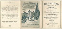 Dépliant Hôtel Des Flandres Place Verte 11 ANVERS Superbement Illustré Avec Plan - Dépliants Touristiques