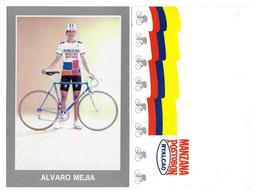CARTE CYCLISME ALVARO MEJIA TEAM MANZANA POSTOBON 1989 - Ciclismo