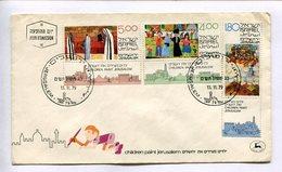 """ISRAEL ENVELOPE FDC 1979 """"CHILDREN PAINT JERUSALEM"""" STAMPS WITH VIGNETTES SOBRE DE ISRAEL -LILHU - Arte"""