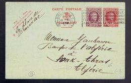 CP 85 + Houyoux N° 195 De Bruxelles 11 II 1926 => Souk-Ahras Algérie - Postwaardestukken