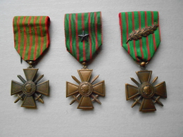 Lot 3 Médailles Croix De Guerre 1914-1918 - Francia
