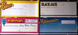 FDJ F.D.J. FRANÇAISE DES JEUX PUBLICITÉ QUATRE AFFICHETTES PLV MILLIONNAIRE MORPION BANCO BLACK JACK... 57x25cm Serbon63 - Publicités