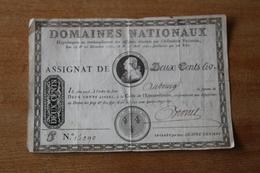 Assignat De DEUX CENTS LIVRES 19&21 Décembre 1789 16 &17  Avril 1790 Louis XVI  LA LOI Et Le ROI   Autographe - Assegnati