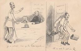 CPA Politique Caricature Satirique Ministre COMBES / ROUVE Ministère Guerre Coup De Pied Au Cul  Illustrateur (2 Scans) - Satiriques