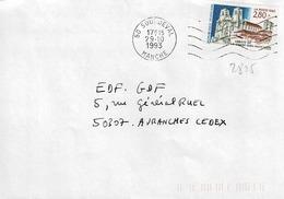 TP  N° 2825 Seul Sur Enveloppe De Sourdeval - Marcophilie (Lettres)